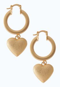 Chunky Heart Charm Earrings
