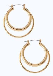 Double Gold Hoop Earrings