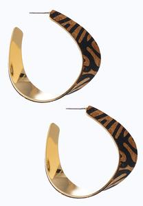 Leopard Cork Hoop Earrings