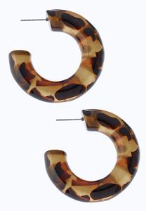 Tortoise Print Hoop Earrings