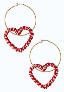 Crochet Heart Hoop Earrings
