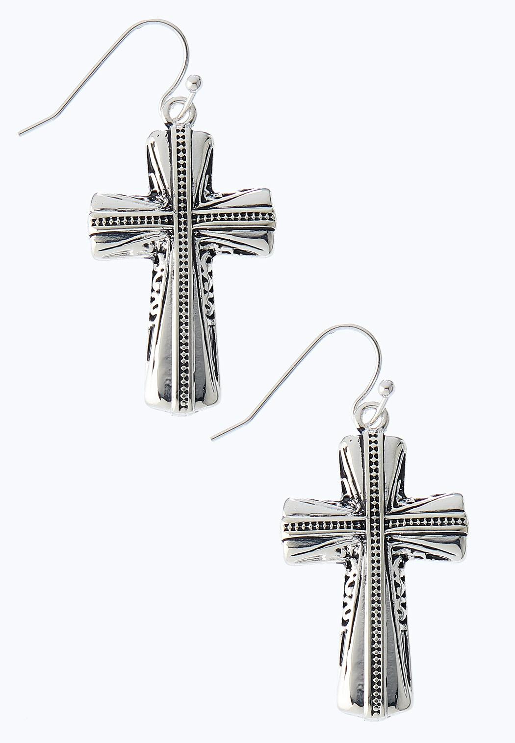 Etched Cross Earrings