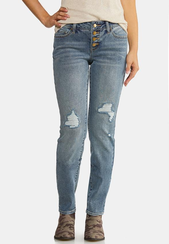 Distressed Buttonfly Jeans