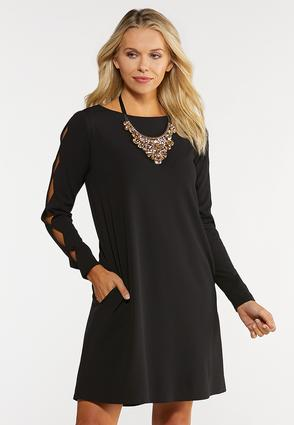 Plus Size Cutout Sleeve Swing Dress
