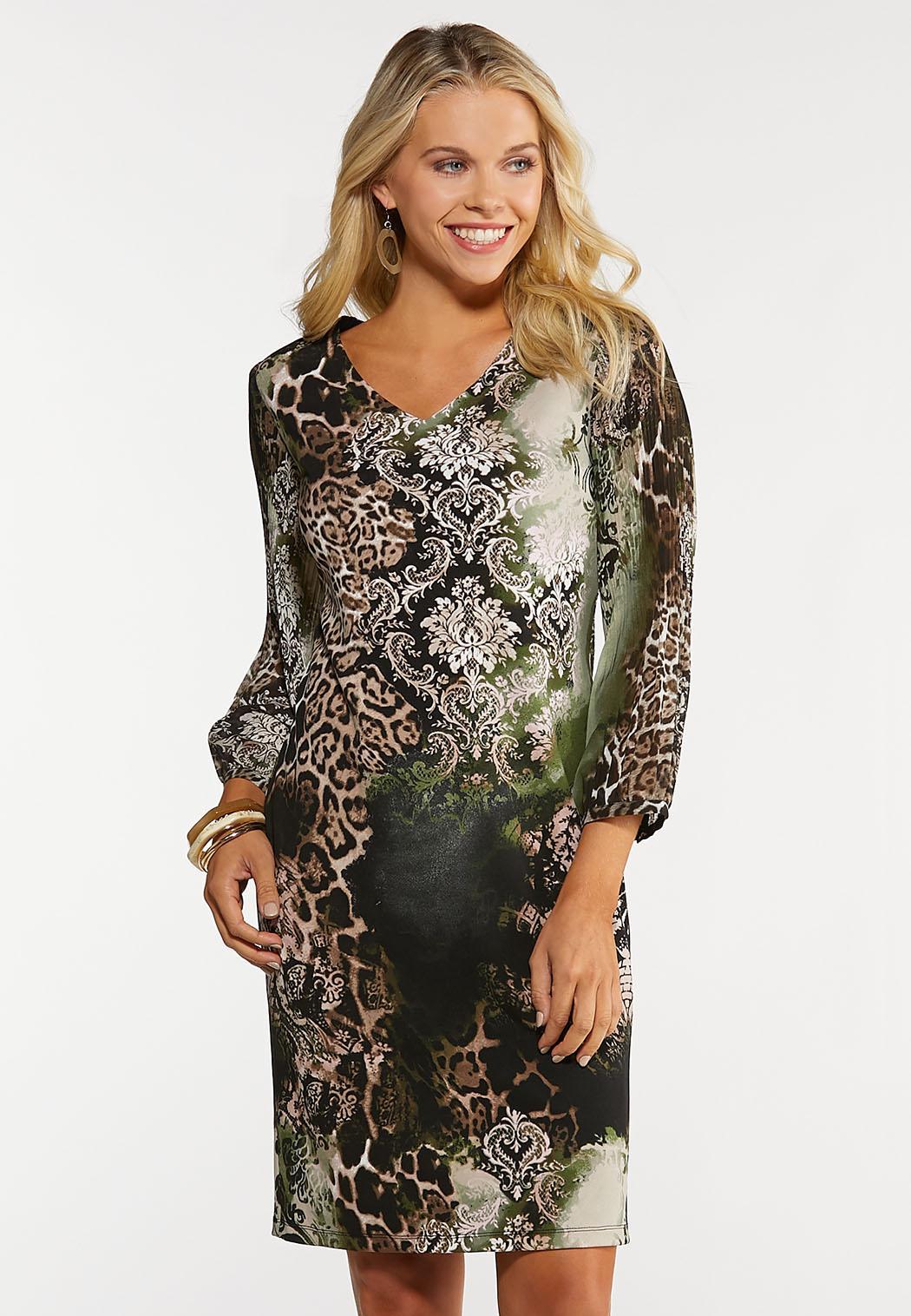 Plus Size Multi Print Sheath Dress
