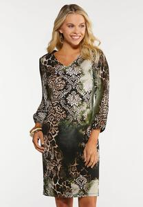 Plus Size Multi Print Sheath Dress