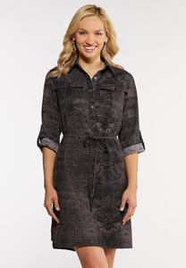 Plus Size Snakeskin Print Shirt Dress