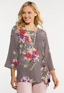 Floral Tie Front Tunic