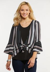 Plus Size Tie Bell Sleeve Top