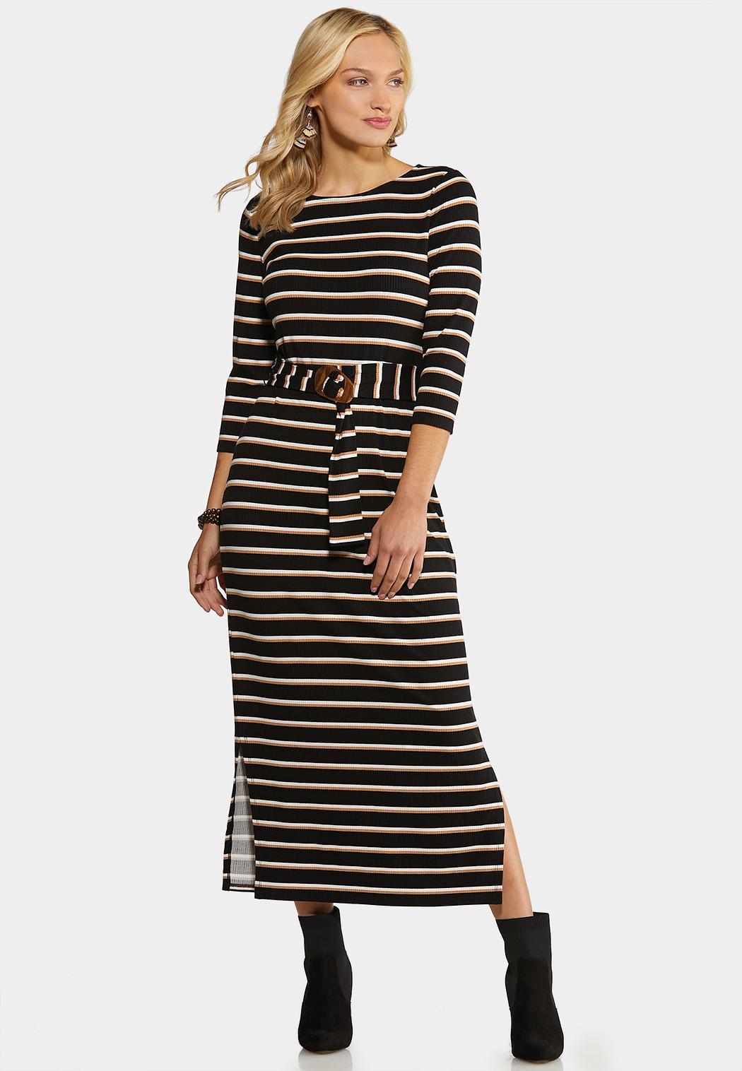 Plus Size Belted Stripe Knit Dress Midi Cato Fashions