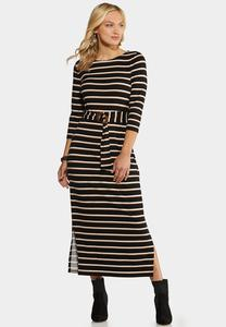 Plus Size Belted Stripe Knit Dress