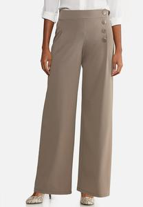 Wide Leg Button Pants