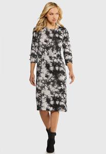 Plus Size Tie Dye Hacci Midi Dress