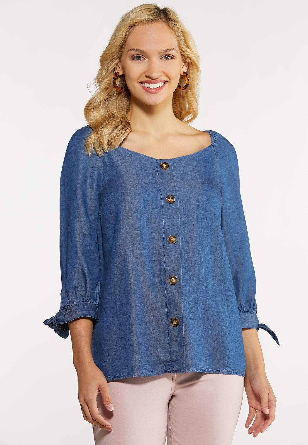 Plus Size Sweetheart Chambray Top