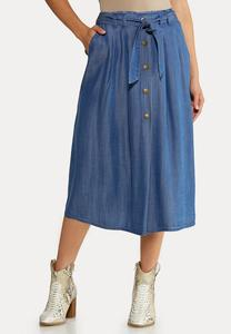 Plus Size Chambray Button Down Skirt