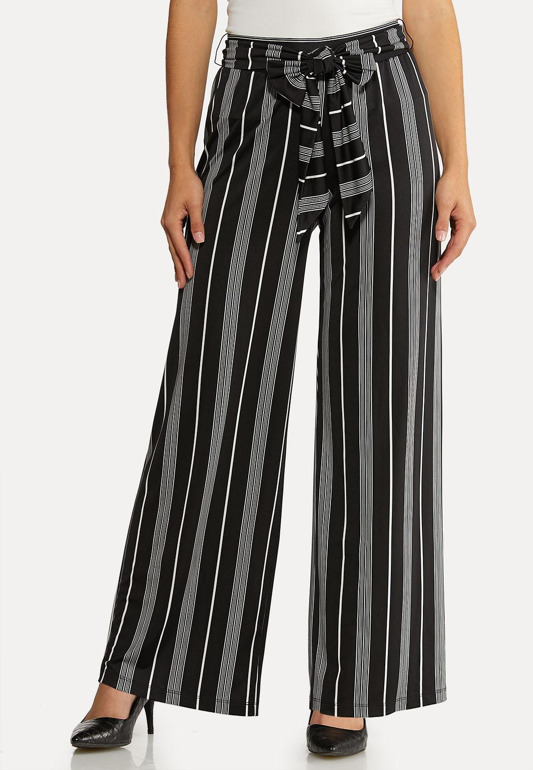 Petite Striped Tie Belted Pants