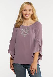 Plus Size Lavender Ruffled Sleeve Top