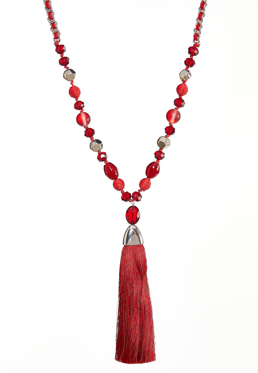 Fabric Tassel Pendant Necklace