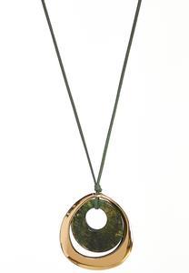 Faux Suede Cord Pendant Necklace
