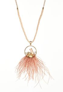 Blush Geo Stone Feather Necklace