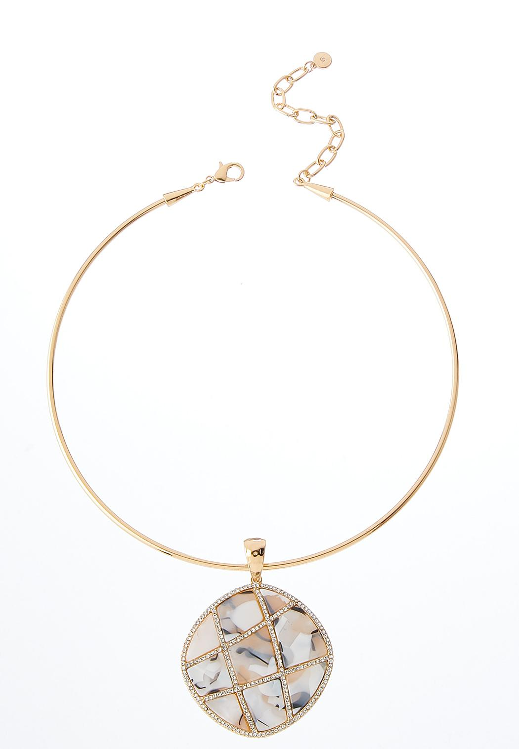 Lucite And Stone Pendant Necklace