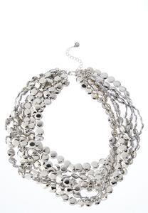 Multi Silver Disc Necklace