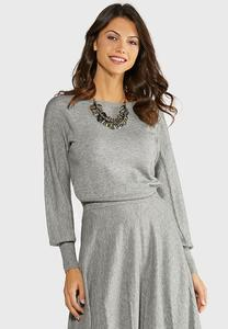 Plus Size Gray Cable Knit Sweater