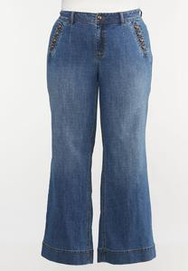 Plus Size Sailor Wide Leg Jeans