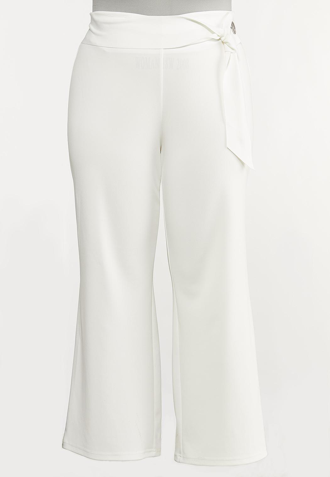 Plus Size Side Button Wide Leg Pants Pants Cato Fashions