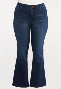 Plus Size Dark Wash Flare Jeans