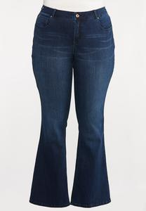 Plus Size Dark Wash Flare Jeans