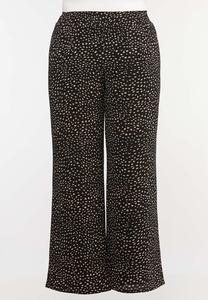 Plus Size Dotted Crepe Palazzo Pants
