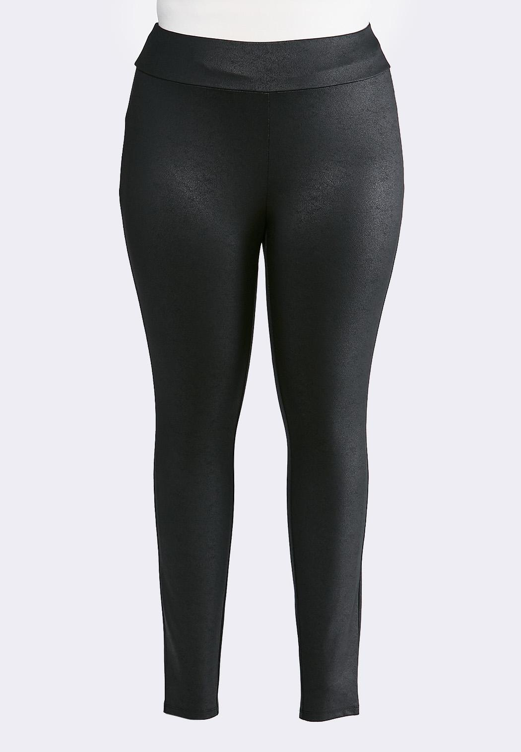 Plus Size Black Coated Leggings
