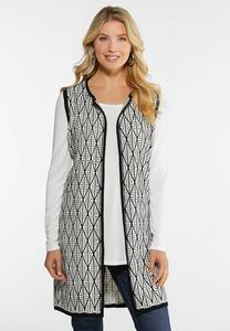 Plus Size Diamond Stitch Vest