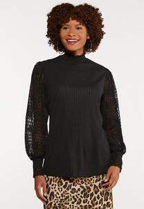Mock Neck Lacy Sleeve Top