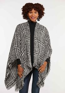 Houndstooth Sweater Wrap