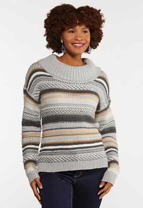 Jacquard Cowl Neck Sweater