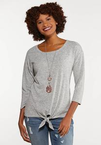 Plus Size Tie Front Dolman Top