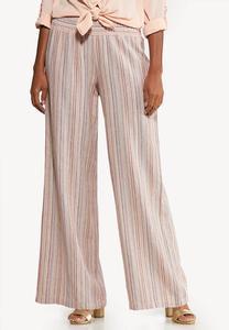 Pink Striped Linen Pants