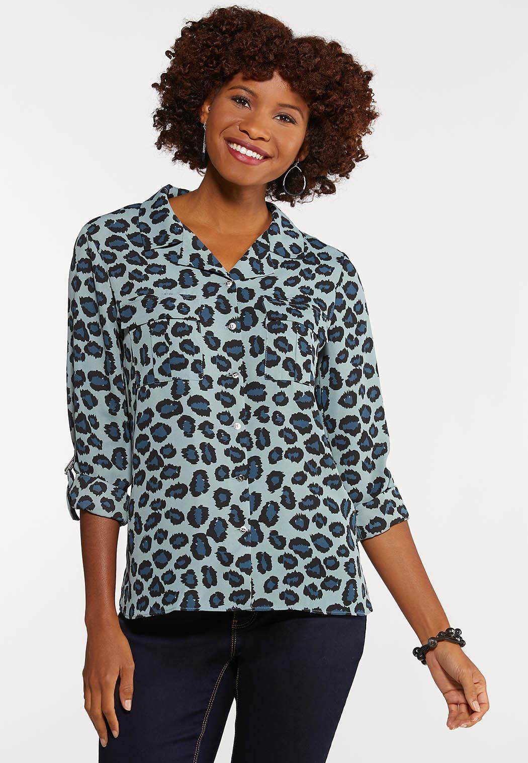 Plus Size Blue Gray Leopard Top