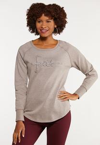 Plus Size Stiched Faith Sweatshirt