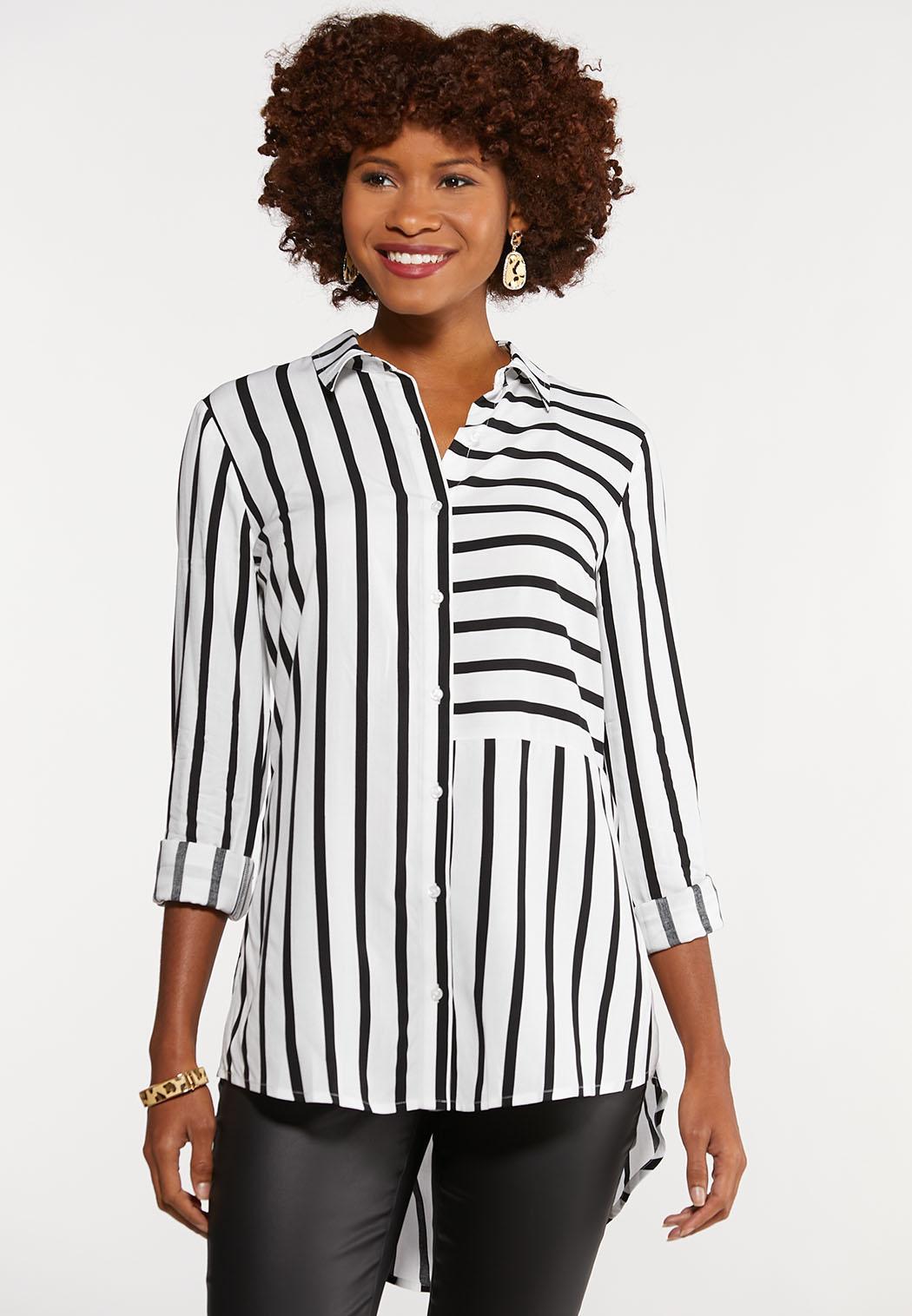 Plus Size Modern Mixed Stripe Shirt