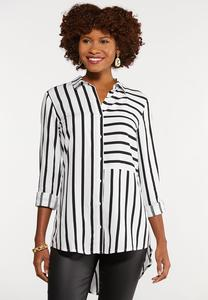 Plus Size Modern Mixed Stripe Shirt