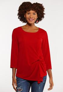 Plus Size Ribbed Twist Tie Top