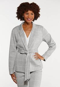 Plus Size Plaid Knit Blazer