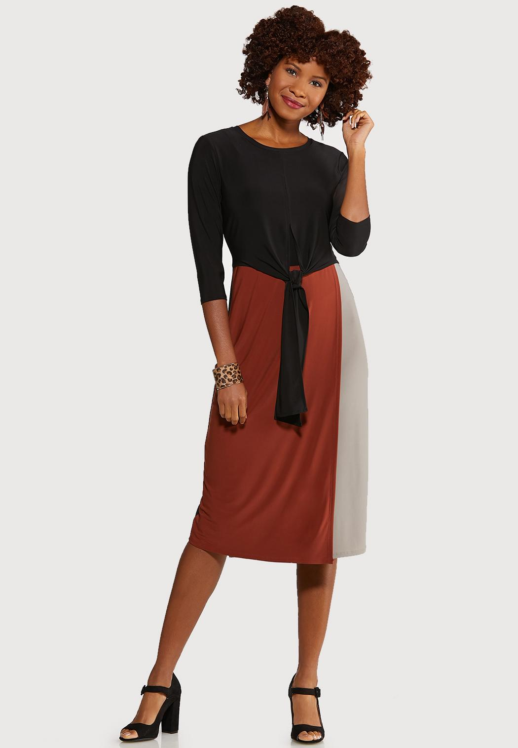 Colorblock Tie Front Dress