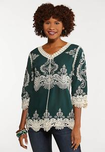 Plus Size Crochet Embroidered Tunic Top