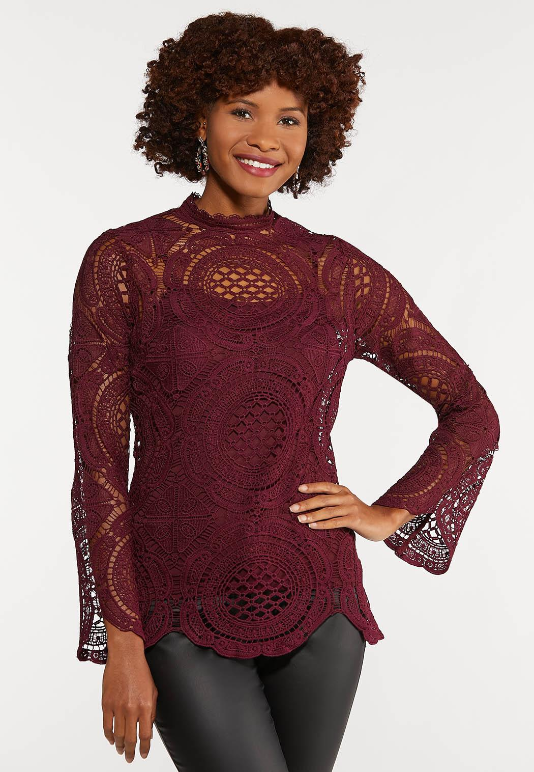 Mock Neck Crochet Top