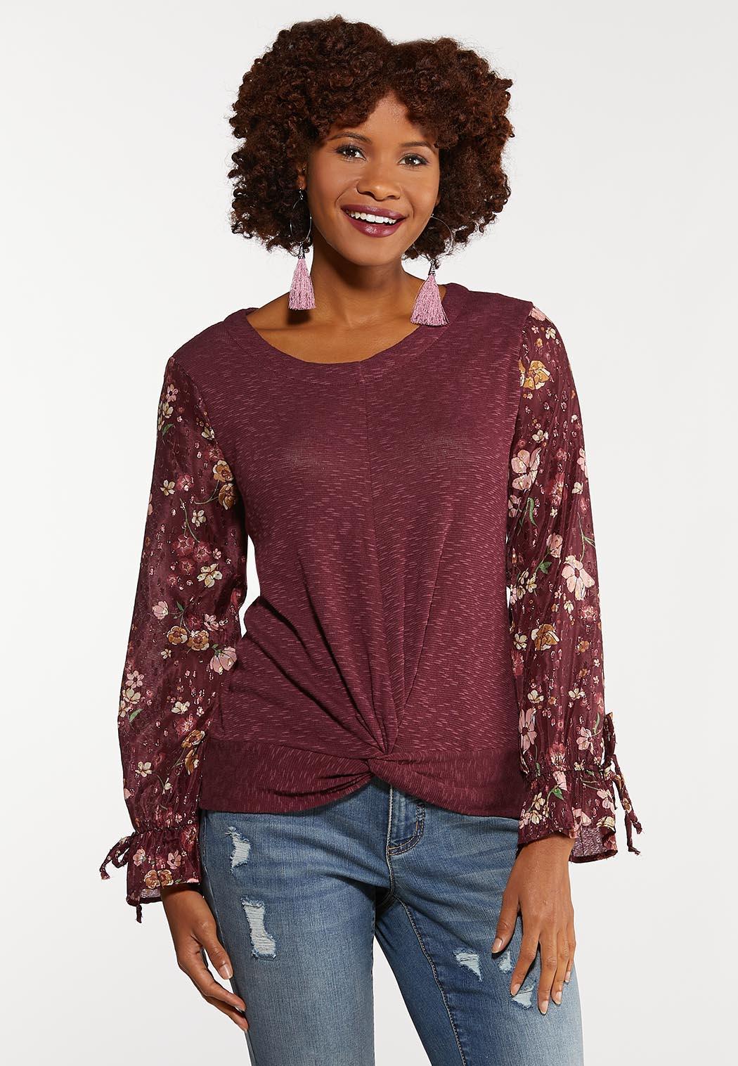 Floral Sleeve Twist Top