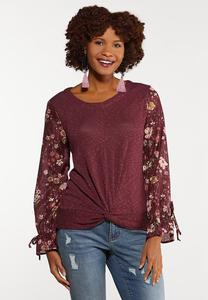 Plus Size Floral Sleeve Twist Top